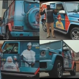 Daniel Amokachi Converts His G-Wagon Into A Campaign Vehicle For APC